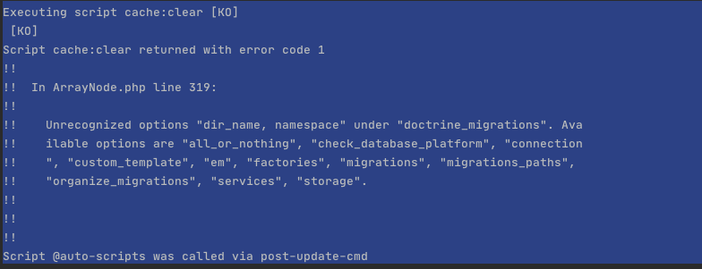 "Unrecognized options ""dir_name, namespace"" under ""doctrine_migrations"". Available options are ""all_or_nothing"", ""check_database_platform"""