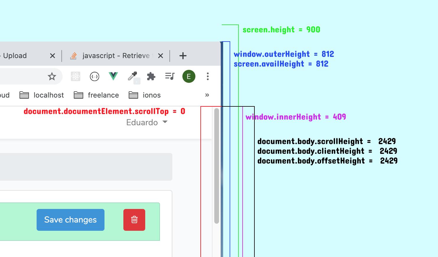 Visualización de las distintas medidas de altura detectadas por js