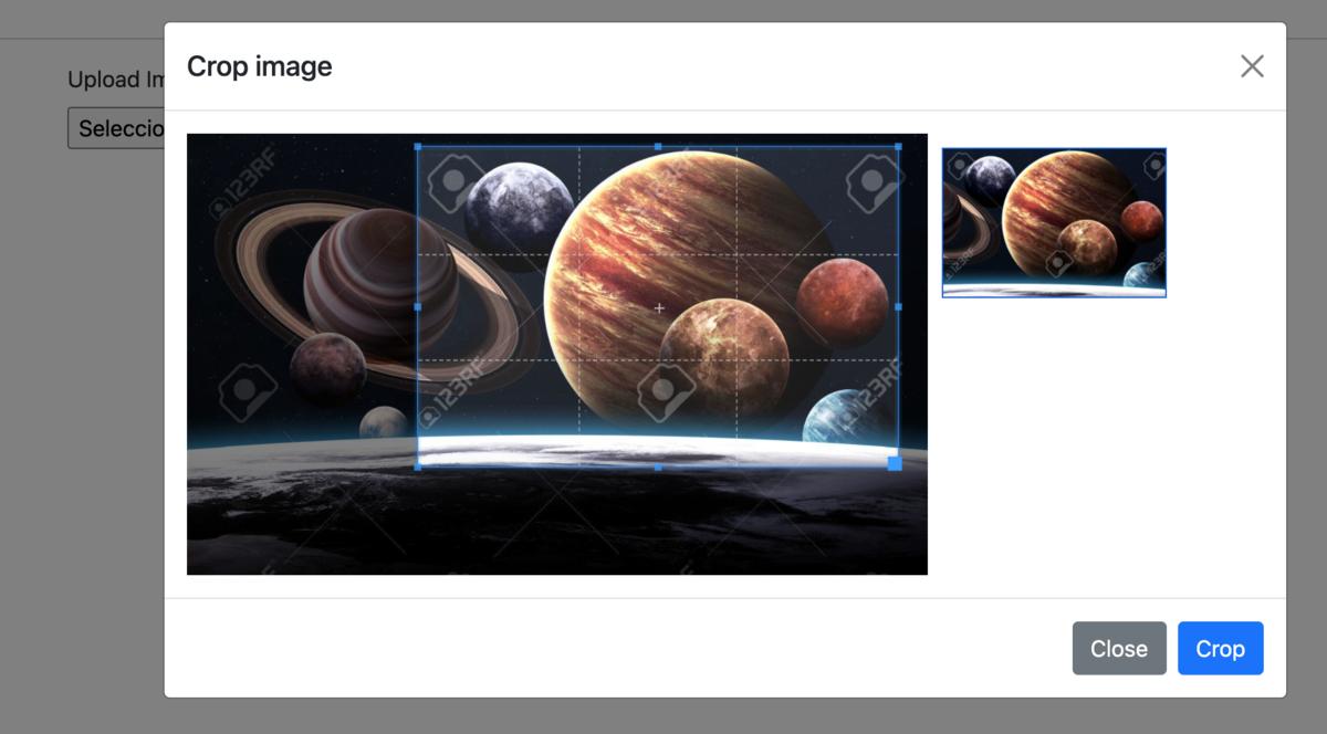 JS recortar imagen antes de subir archivo al servidor sin jquery