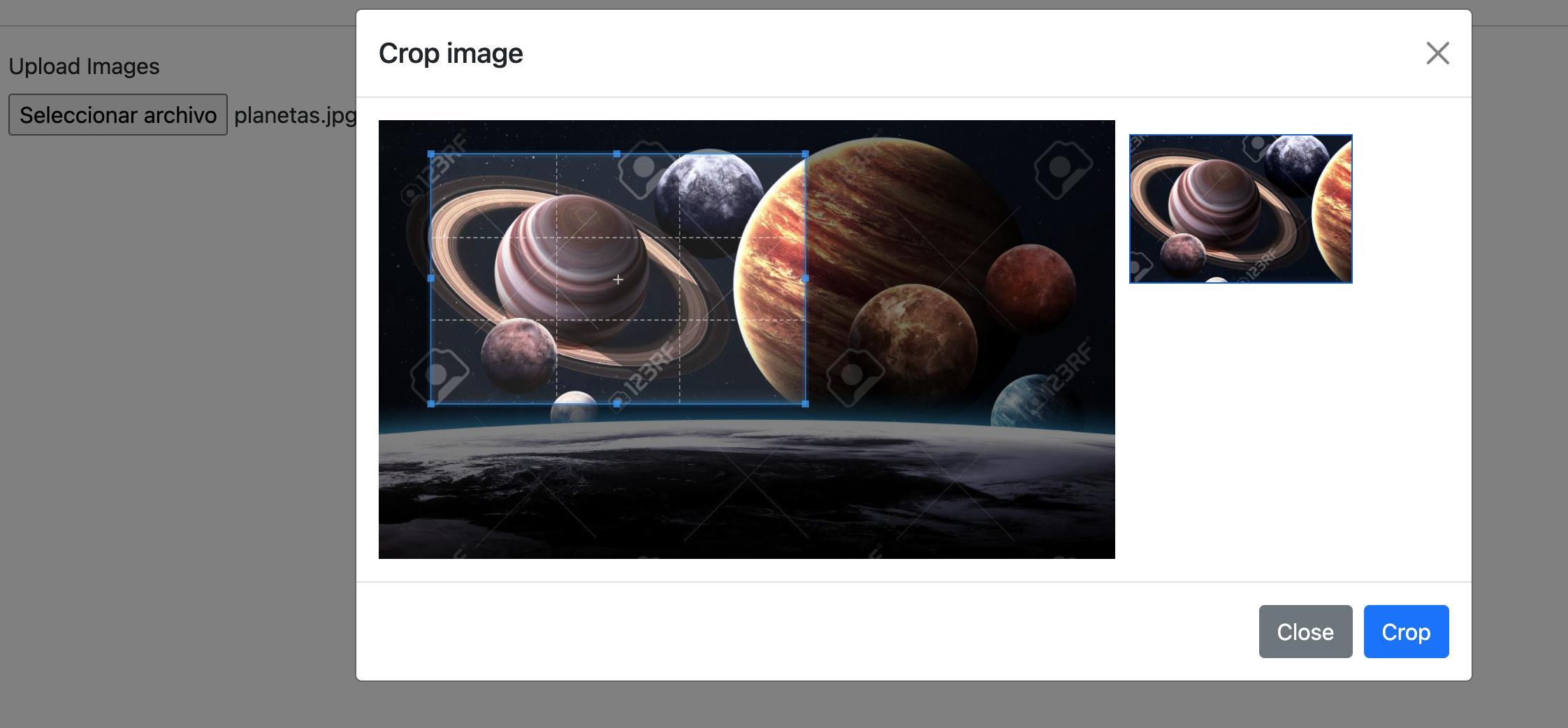 edicion de imagen en modal con cropper.js
