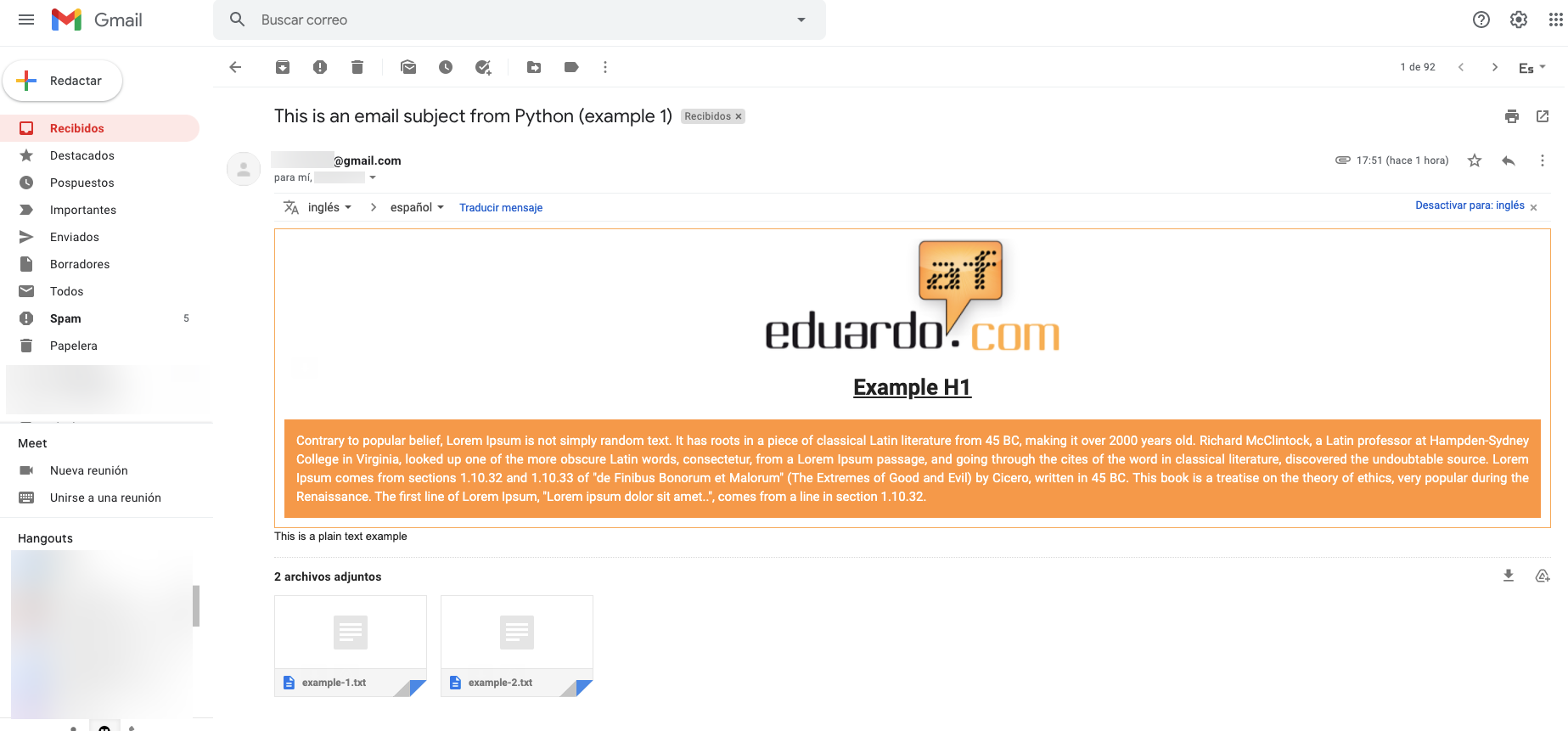 buzon gmail con prueba de envio desde python