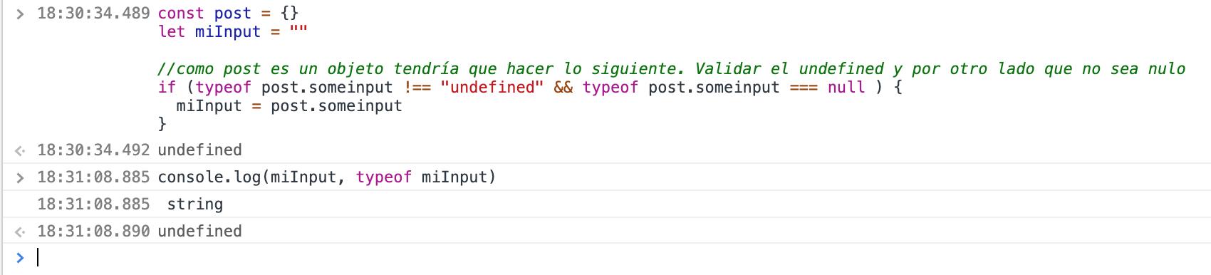 Ejemplo sin operador null o doble interrogación en js