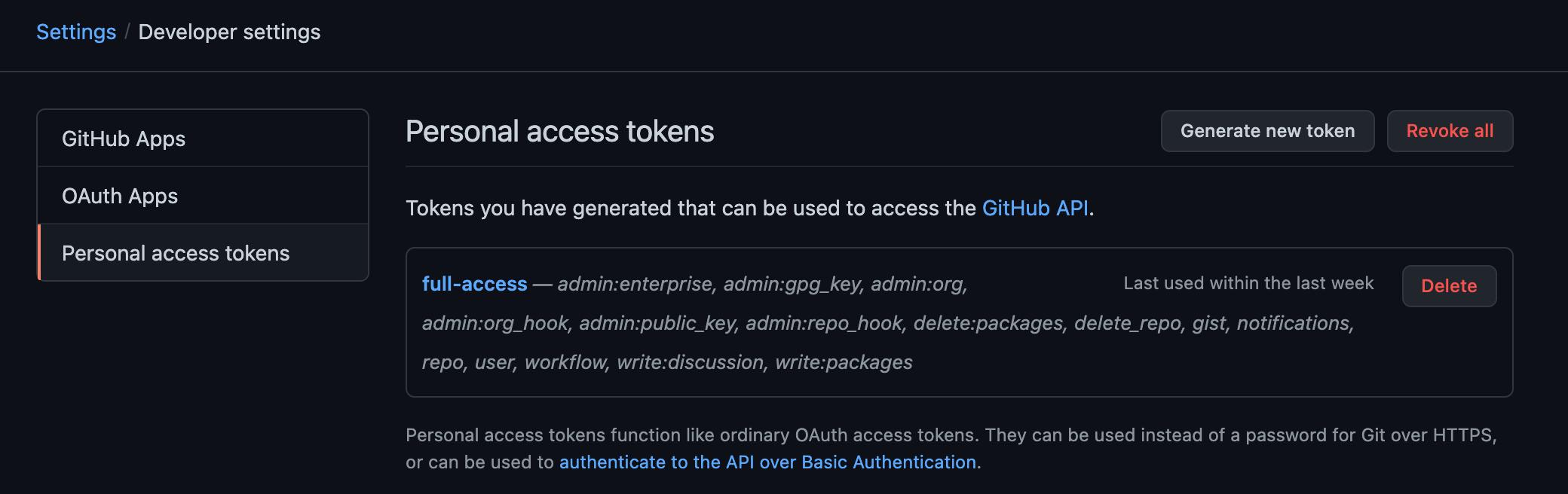 Panel de generación de nuevos Personal Access Tokens en github